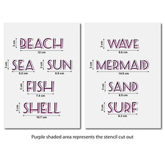 CraftStar Seaside Words Stencil - Sizes