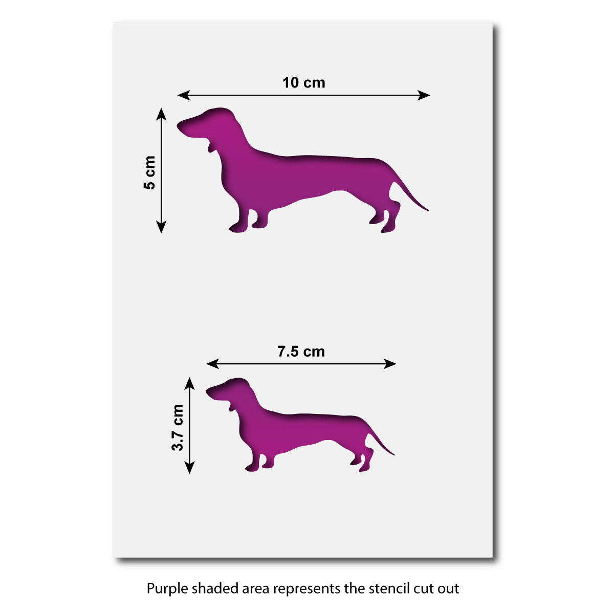 Dachshund Dog Stencil Set Sizes