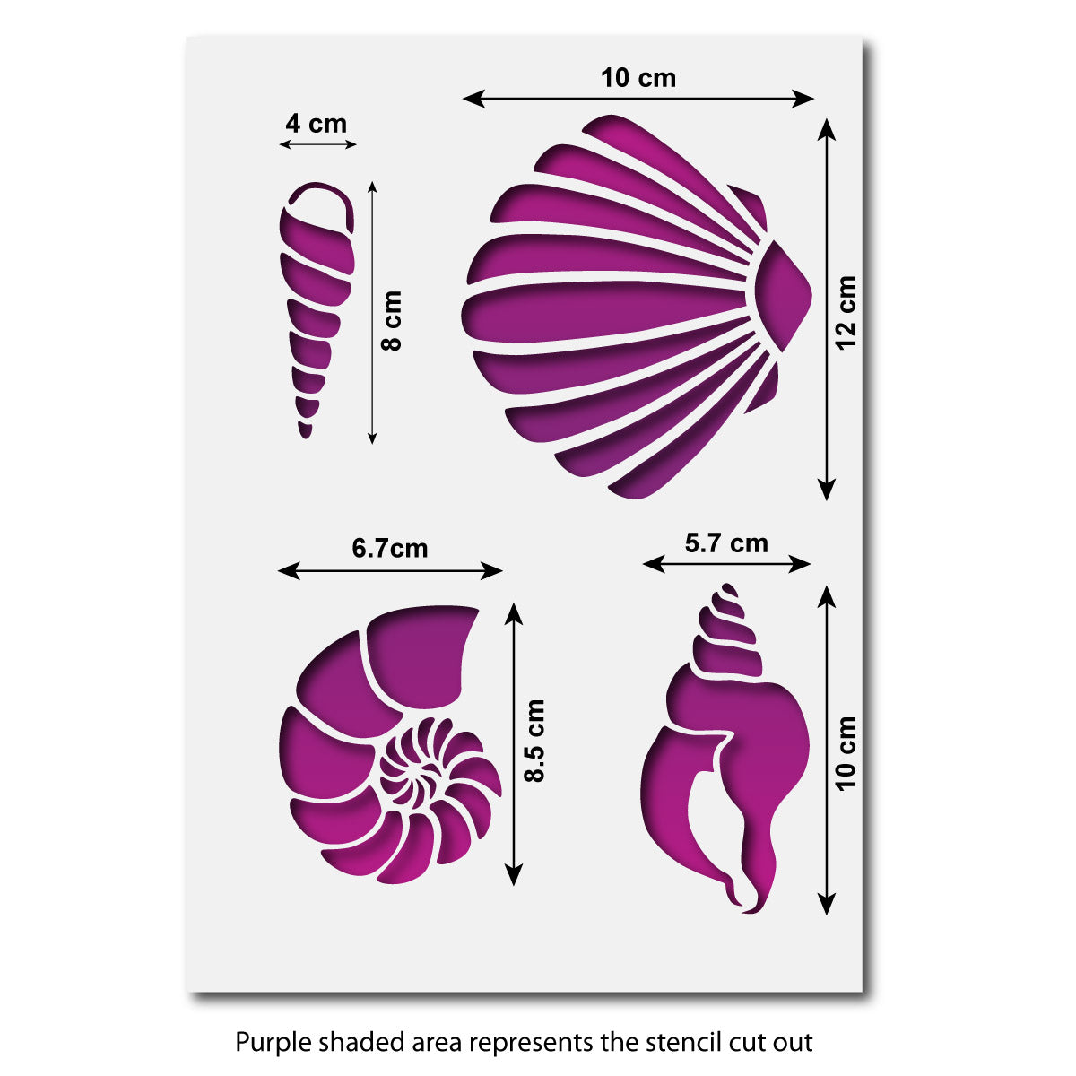 CraftStar Sea Shell Stencil Set - Size Guide