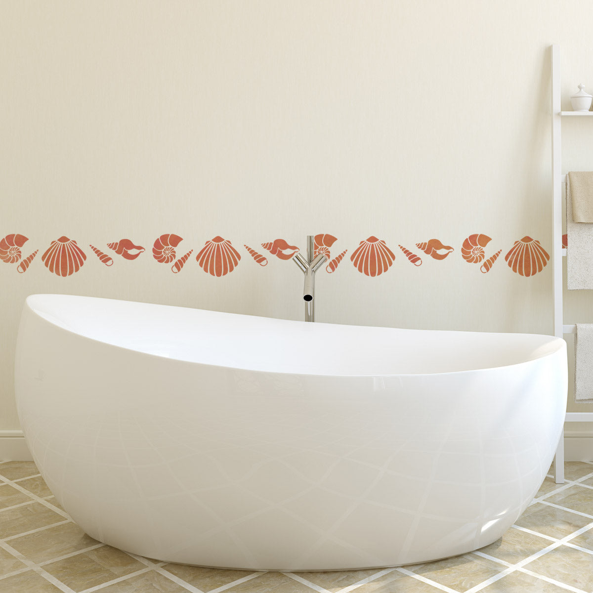 CraftStar Sea Shell Stencil Set in Bathroom