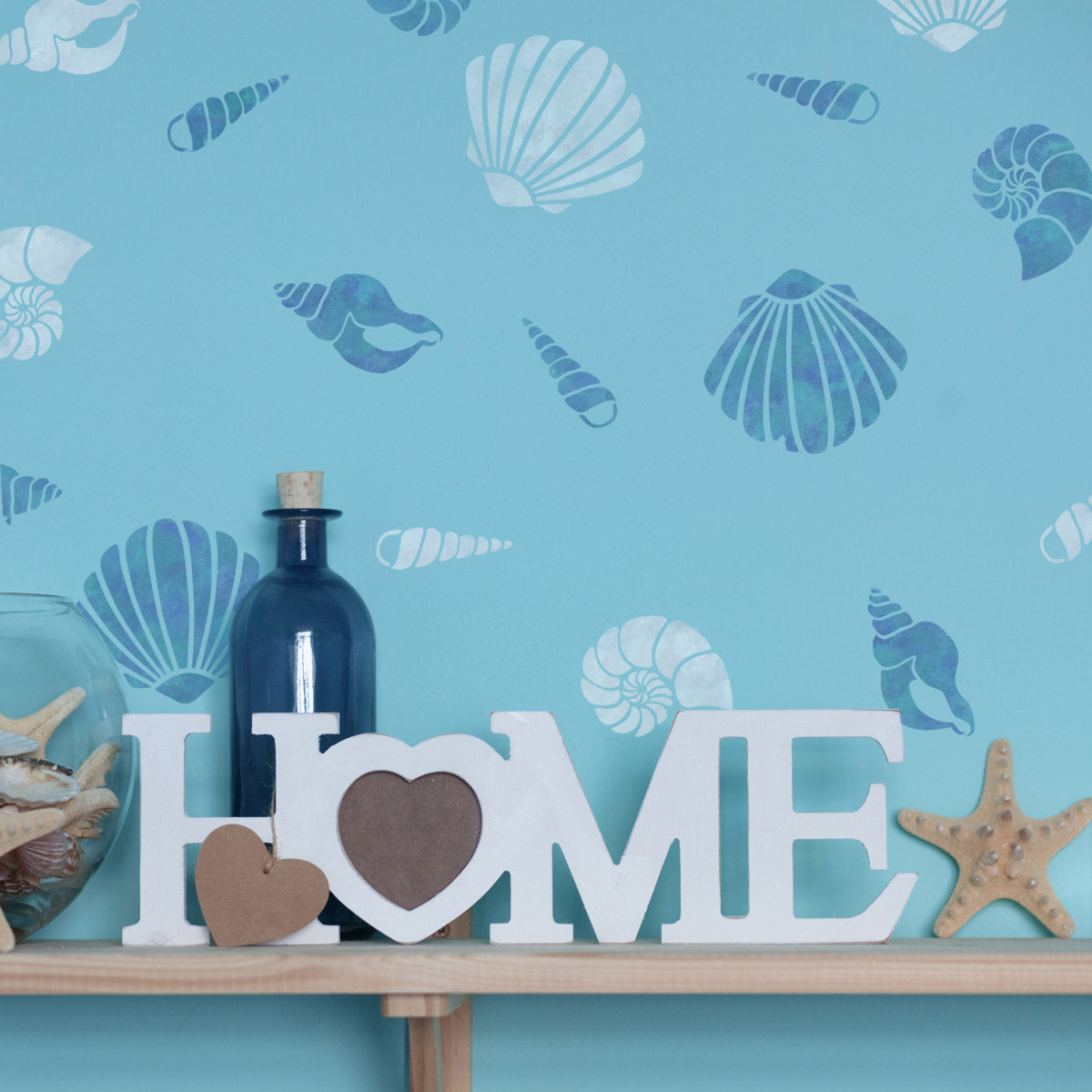 CraftStar Sea Shell Stencil Set on Wall