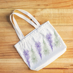Tote Bag with Peacock Feather Stencil
