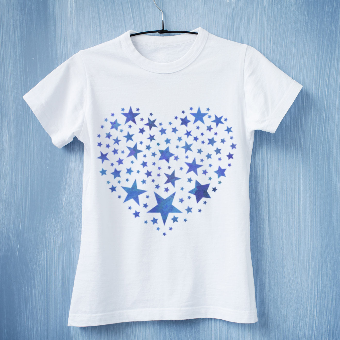 CraftStar Star Pattern Heart Stencil on Tshirt