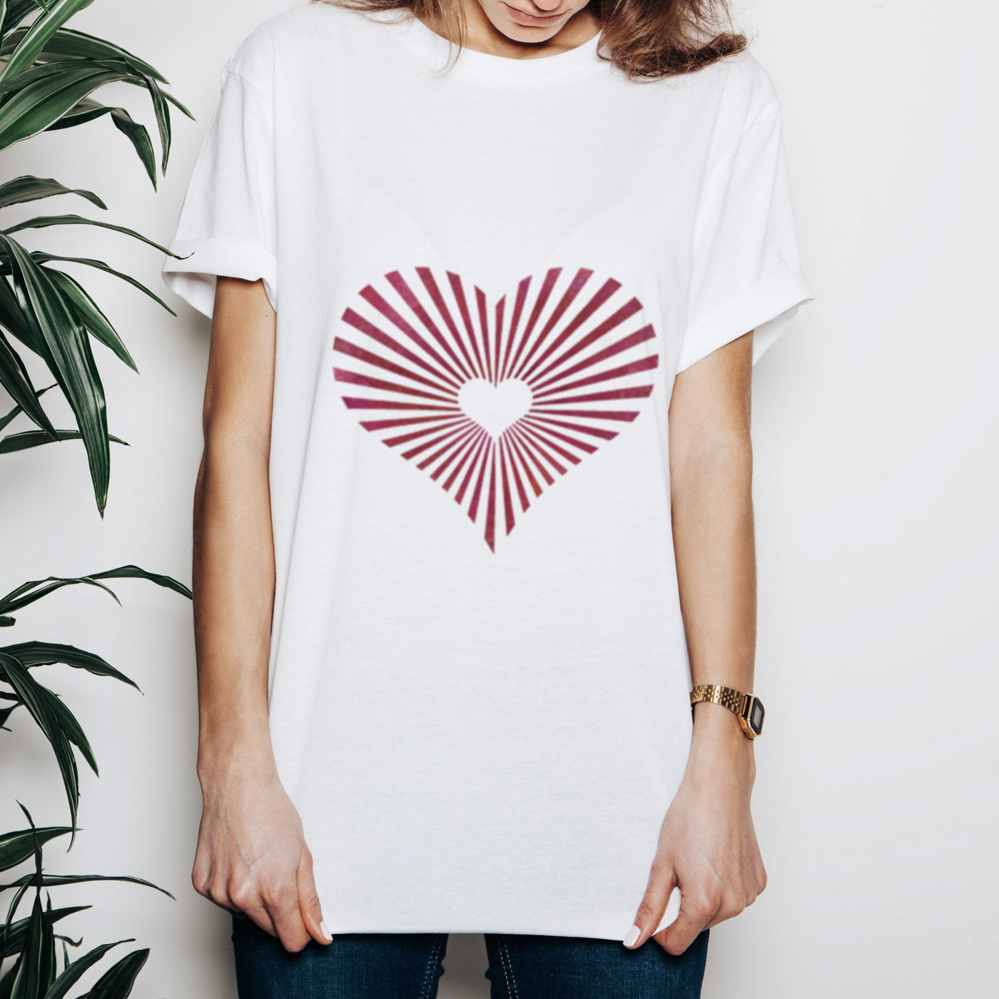Sunburst Heart Stencilled onto White Tshirt - CraftStar Stencils