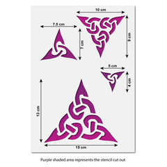 CraftStar Celtic Trinity Knot Stencil Set Size Guide