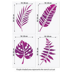 Tropical Foliage Stencil Set - 4 Large Leaf Templates