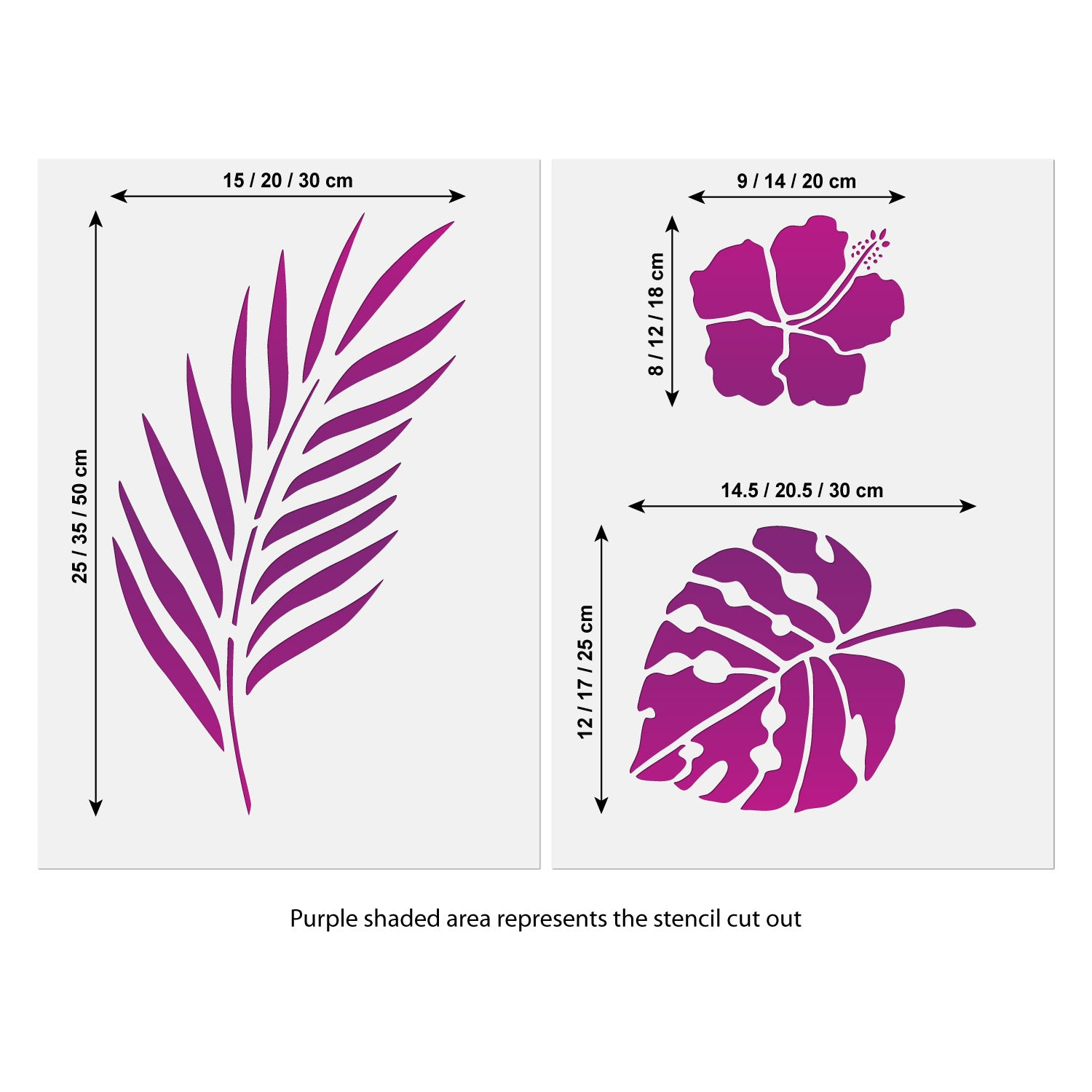 CraftStar Tropical Flowers and Leaves Stencil Set Size Information
