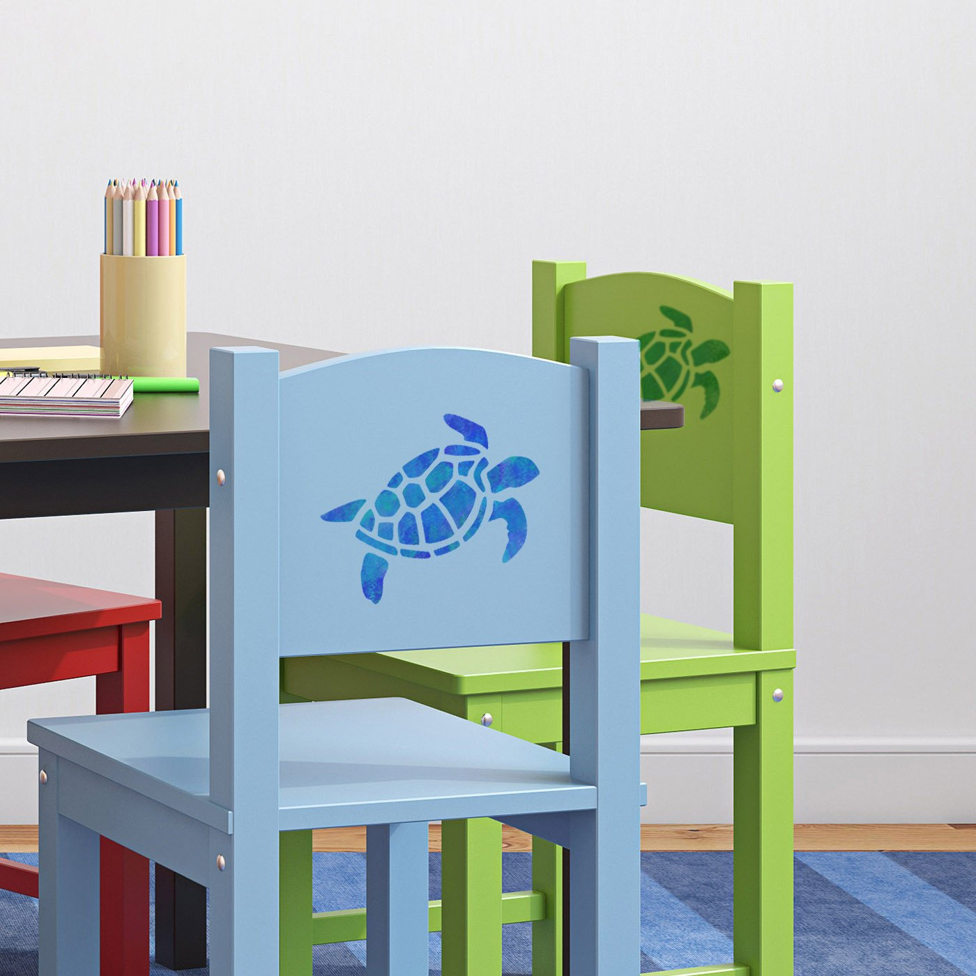 Craftstar Turtle Stencil in playroom