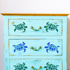 Craftstar Turtle Stencil on furniture
