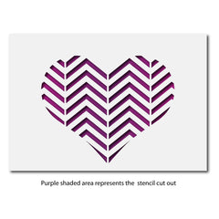 CraftStar Zig Zag Pattern Heart Stencil layout