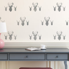 CraftStar Stag Heads Repeating Pattern Stencil in Grey