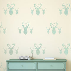 CraftStar Stag Heads Repeating Pattern Stencil on Wall