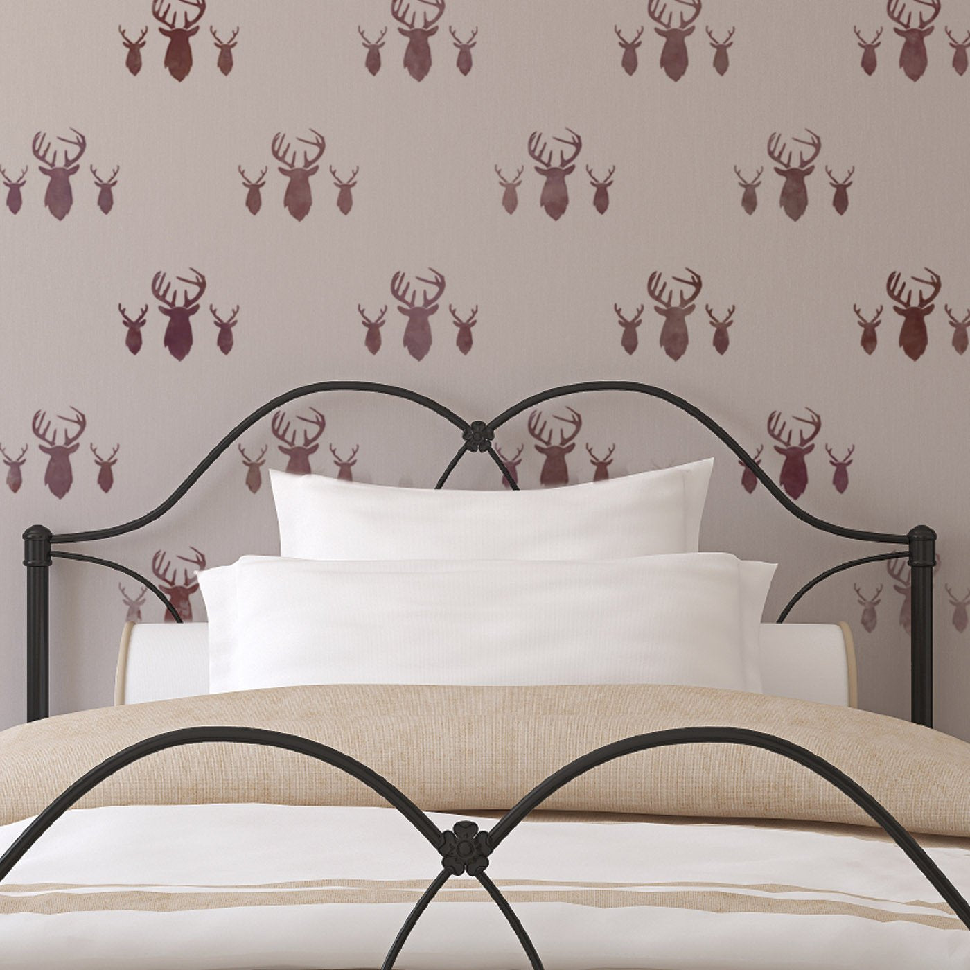CraftStar Stag Heads Repeating Pattern Stencil over Bed