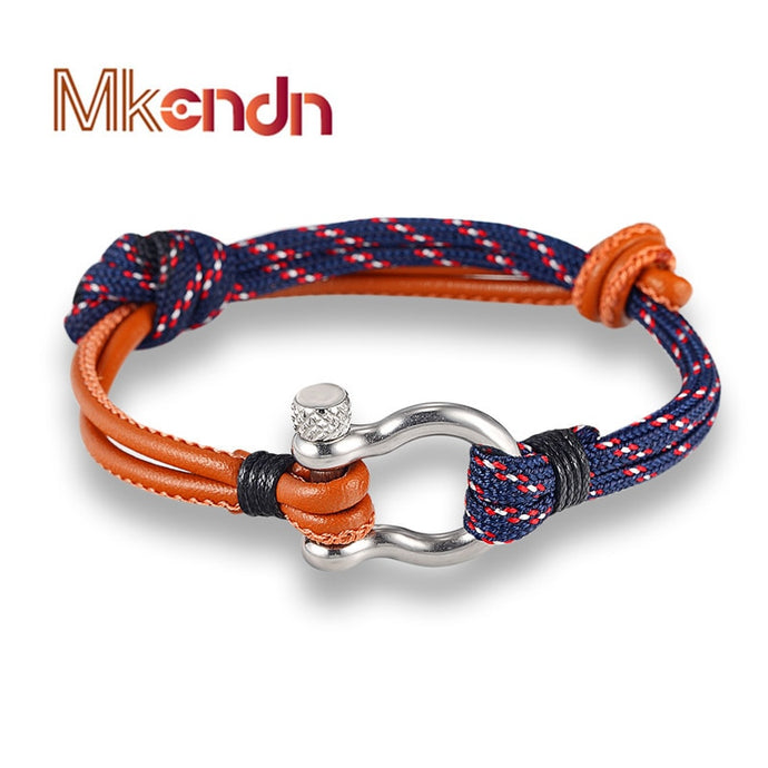 Stainless Steel Shackle Buckle Paracord Bracelet - Cavemen Culture