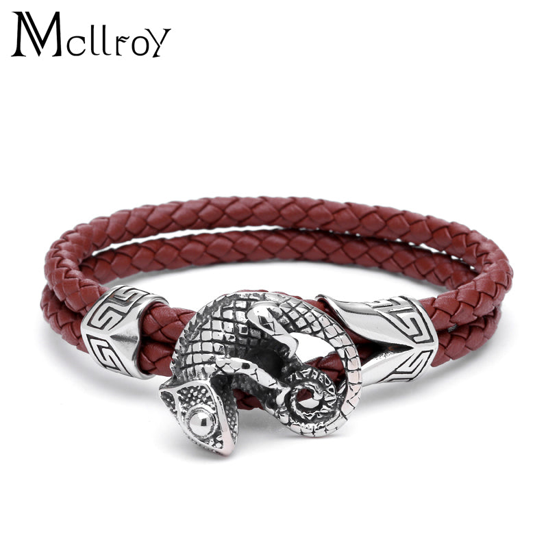 Gecko Charm Braided Leather Bracelet - Cavemen Culture