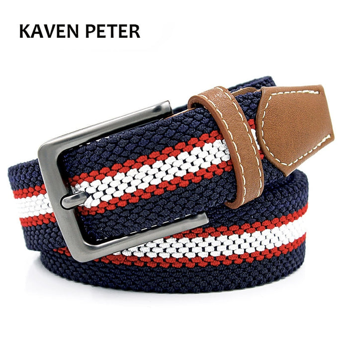 Braided Woven Canvas and PU Leather Belt - Cavemen Culture