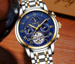 LIGE Stainless Steel Luxury Automatic Mechanical  Sport Clock Mens Watches - Cavemen Culture