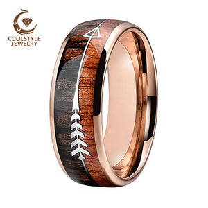 Rose Gold Tungsten Band With Arrow And Double Woods Inlay - Cavemen Culture