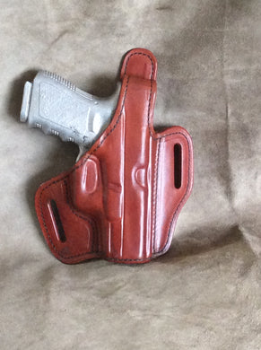 Glock 19/23/32 OWB Custom Leather Pancake Holster w/ Thumb Break by ETW Holsters