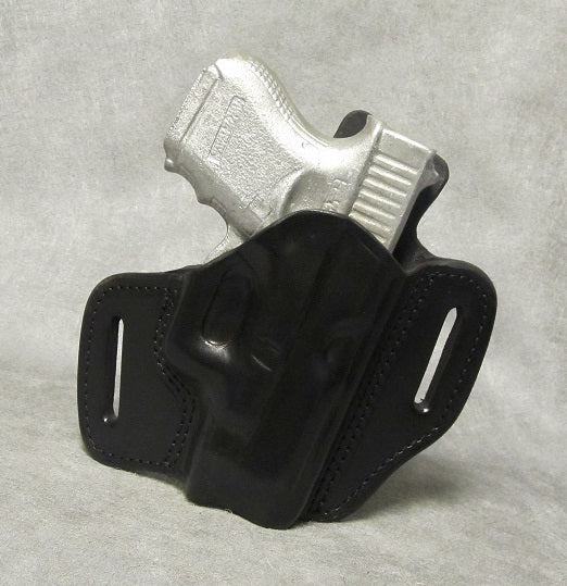 Glock 27 Leather Pancake Holster w/ Sweat Shield - Black