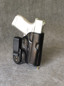 Glock 26 with Crimson Trace IWB Concealed Tuckable Custom Leather Holster
