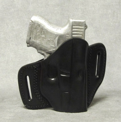 Glock 26 (with Crimson Trace) Two Slot Pancake Leather Holster - Black