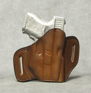 Glock 26 (with Crimson Trace) Two Slot Pancake Leather Holster - Brown