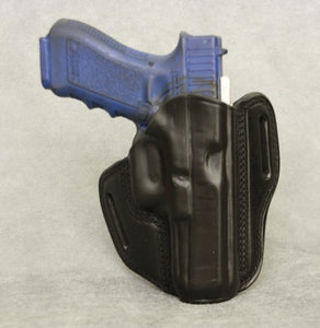 Glock 21 Slim Frame Leather Pancake Holster - Black