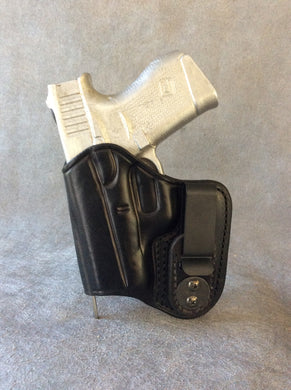 Glock 27 IWB Concealed Tuckable Custom Leather Holster w/Sweat Guard by ETW Holsters