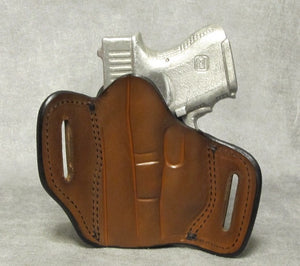 Glock 26 Leather Pancake Holster - Brown