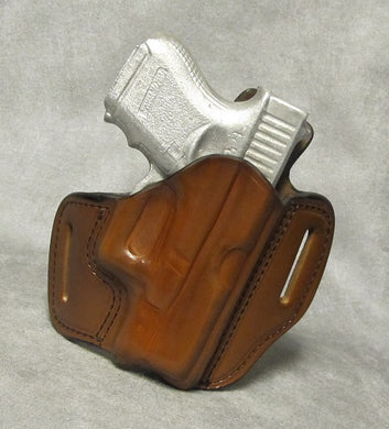 Glock 27 Leather Pancake Holster w/ Sweat Shield - Brown