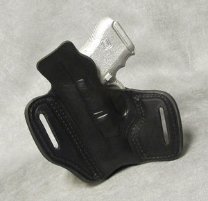 Glock 26 Leather Pancake Holster w/ Sweat Shield - Black