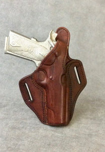 "1911 Full Size OWB Leather Gun Holster w/Thumb Break 5"" BARREL"