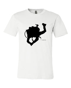 Diver Silhouette Black On White T-shirt