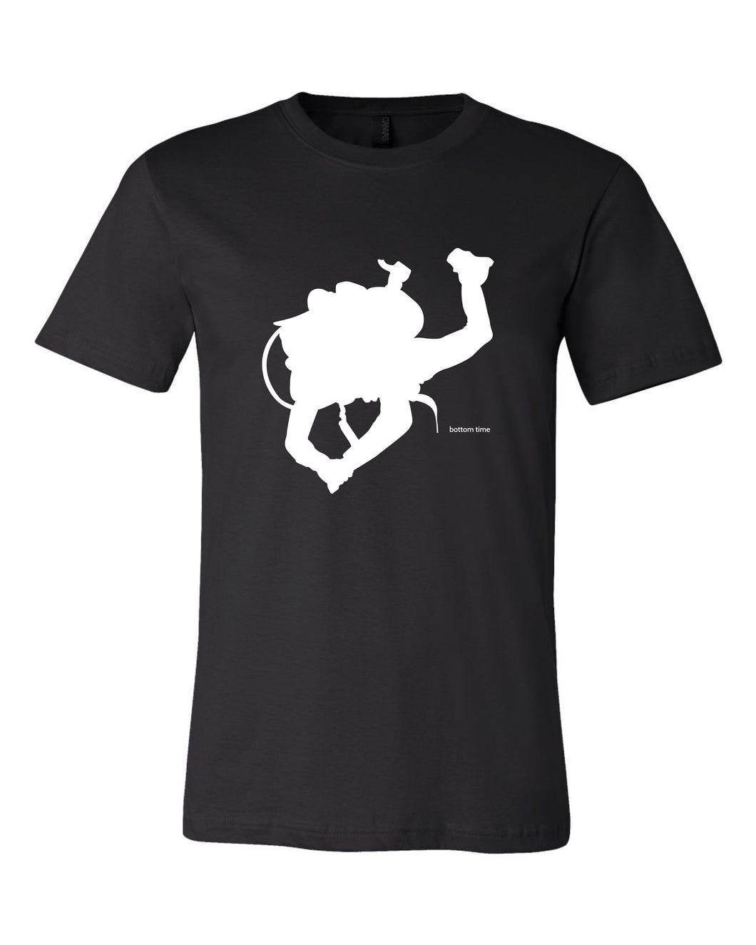 Diver Silhouette White On Black T-shirt