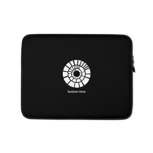 Bottom Time Laptop Sleeve White on Black