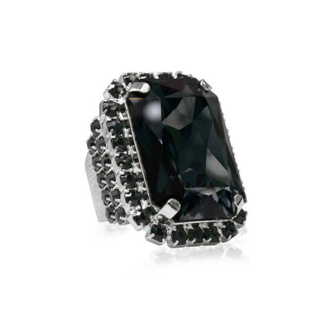 Caroline Svedbom - Alexa Cocktail Ring Black Diamond + Jet Rhodium