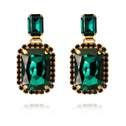 Caroline Svedbom - Alexa Earrings Emerald + Jet Gold