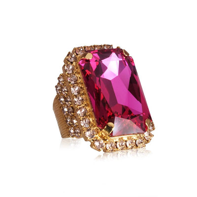 18k gold plated Statement Ring with swarovski crystals