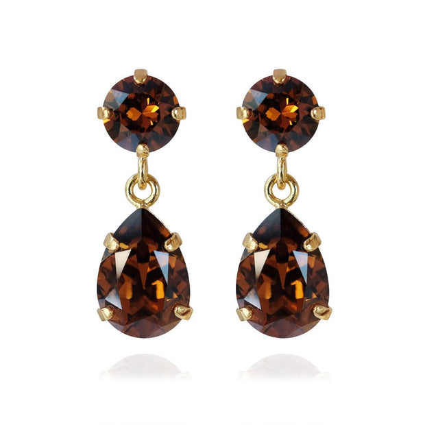 Caroline Svedbom - Mini Drop Earrings Smoked Topaz Gold