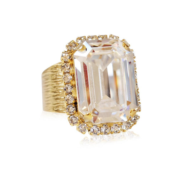 Caroline Svedbom - Lydia Cocktail Ring Crystal Gold