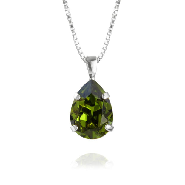 Caroline Svedbom - Mini Drop Necklace Olivine Rhodium