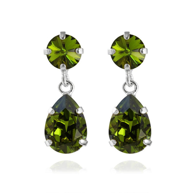 Caroline Svedbom - Mini Drop Earrings Olivine Rhodium