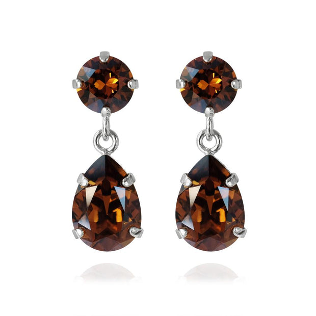 Caroline Svedbom - Mini Drop Earrings Smoked Topaz Rhodium