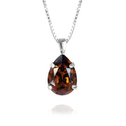 Caroline Svedbom - Mini Drop Necklace Smoked Topaz Rhodium