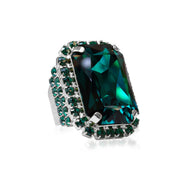 Caroline Svedbom - Alexa Cocktail Ring Emerald + Jet Rhodium