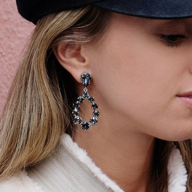 Delia Earrings / Silvernight + Black Patina