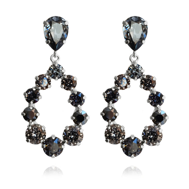 Rhodium plated feminine and colorful Earrings with swarovski crystals