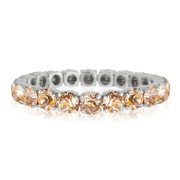 Rhodium plated stretch bracelet with swarovski crystals