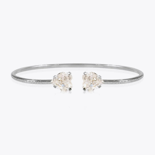 Rhodium plated heart bracelet with swarovski crystals